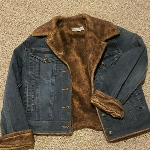 Marvin Richard's faux fur lined jeans jacket small